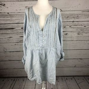 Lane Bryant Blue White Striped Beaded Babydoll Top